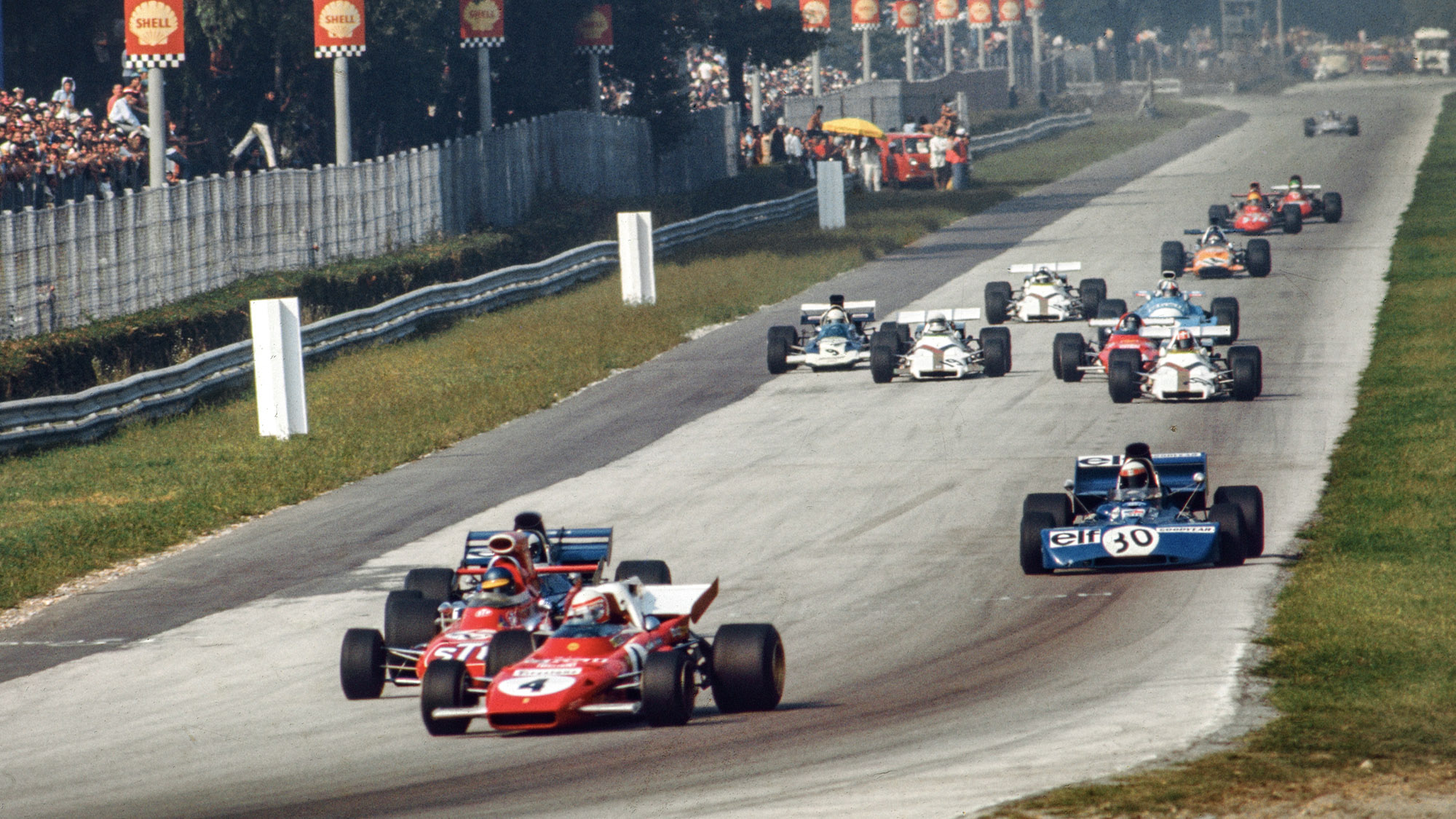 Clay Regazzoni leads at Monza in the opening laps of the 1971 F1 Italian Grand Prix