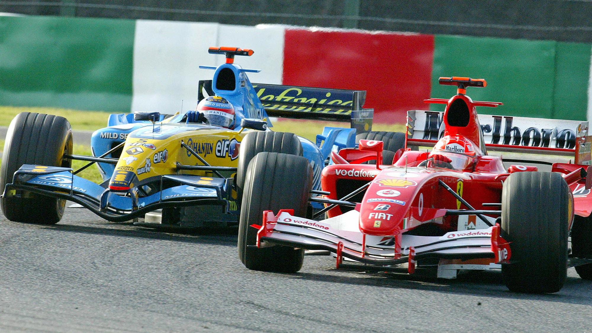 Fernando Alonso chases down Michael Schumacher in the 2005 Japanese Grand Prix at Suzuka