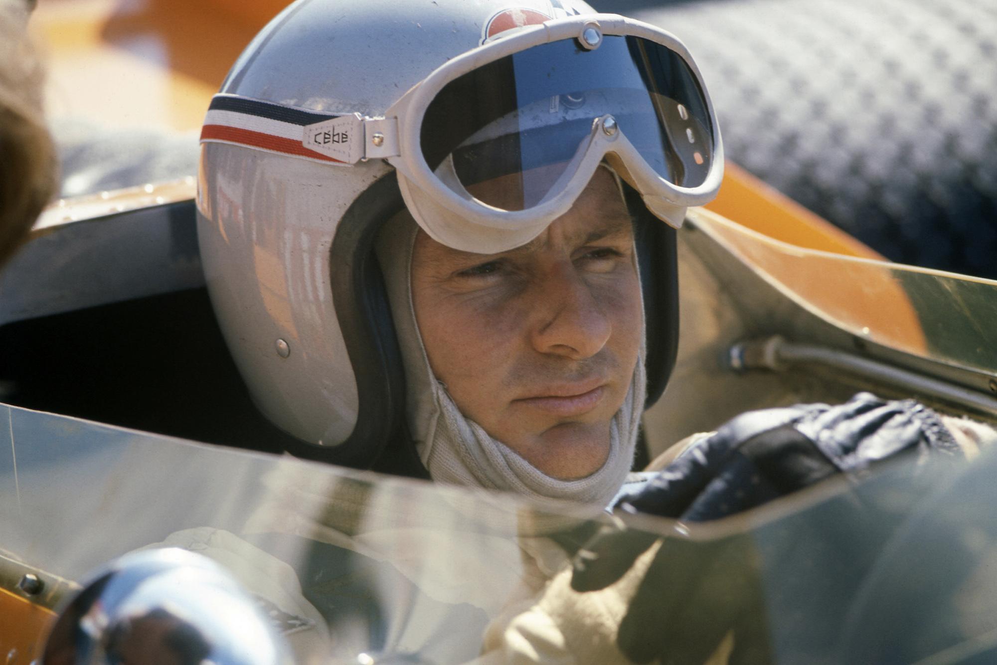 Bruce McLaren in his McLaren Ford in 1968