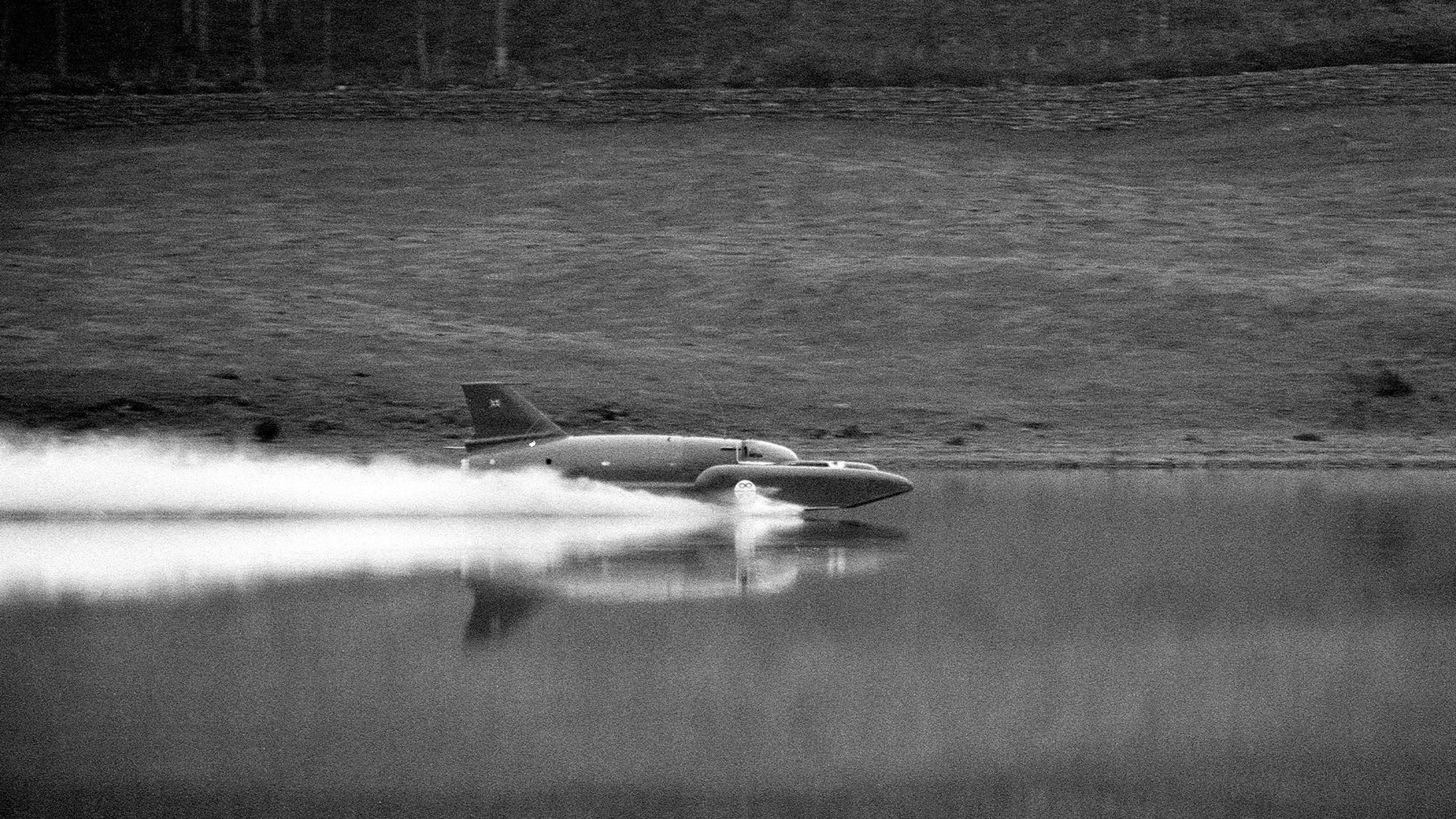 4th November 1966. Campbell was killed instantly on 4th January 1967 whilst attempting to break his own water-speed record of 276mph. His craft 'Bluebird' flipped into the air at around 300mph. (Photo by Sunday Mirror/Mirrorpix/Mirrorpix via Getty Images)