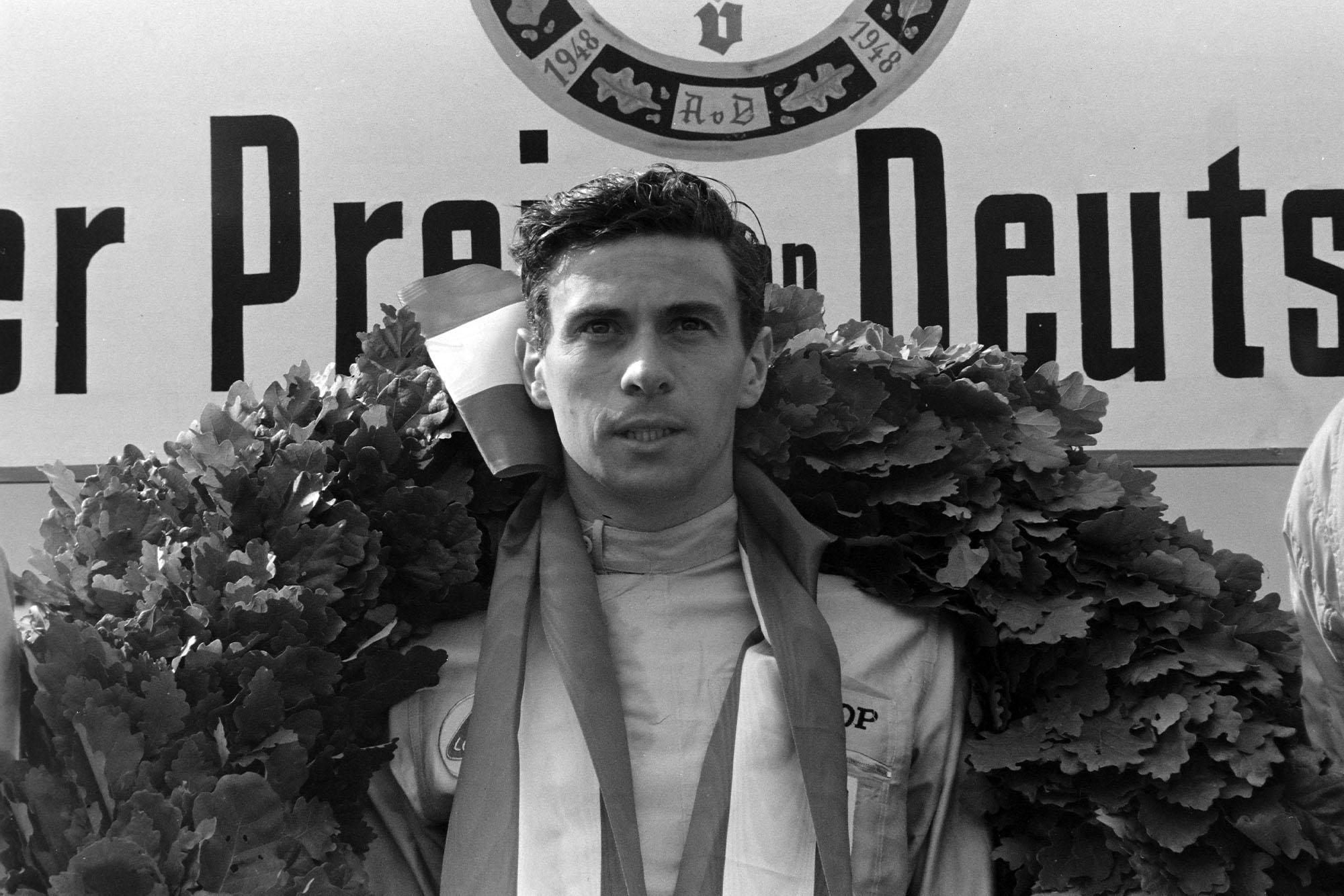 Jim Clark, 1st position, on the podium.