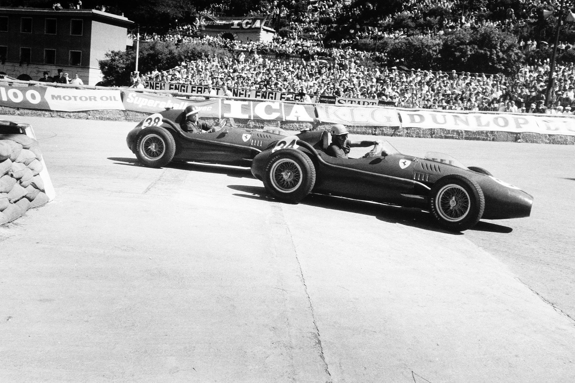 Ferrari drivers Hawthorn and Musso at the 1958 Monaco Grand Prix