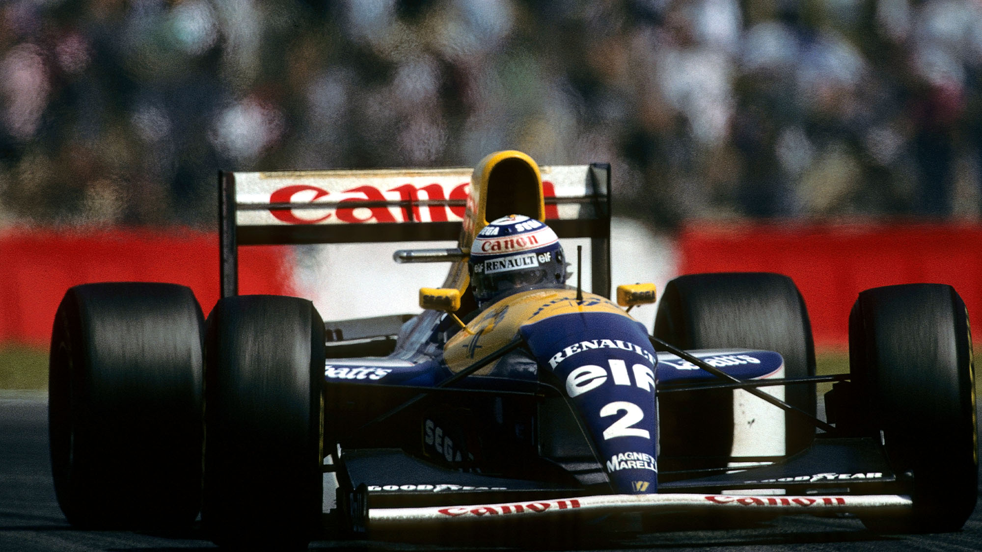 Alain Prost, Williams-Renault FW15C, Grand Prix of France, Circuit de Nevers Magny-Cours, July 4, 1993. (Photo by Paul-Henri Cahier/Getty Images)