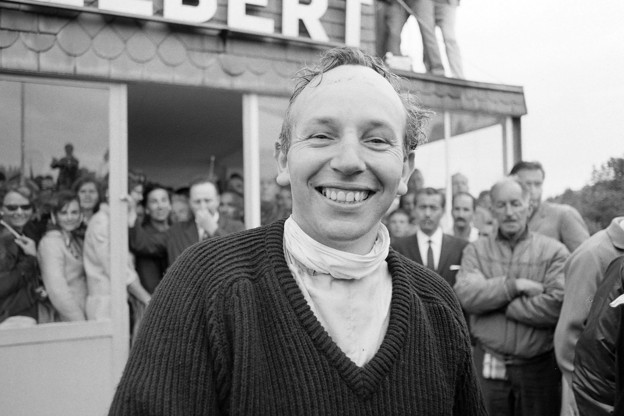 Surtees is suitably delighted after winning.