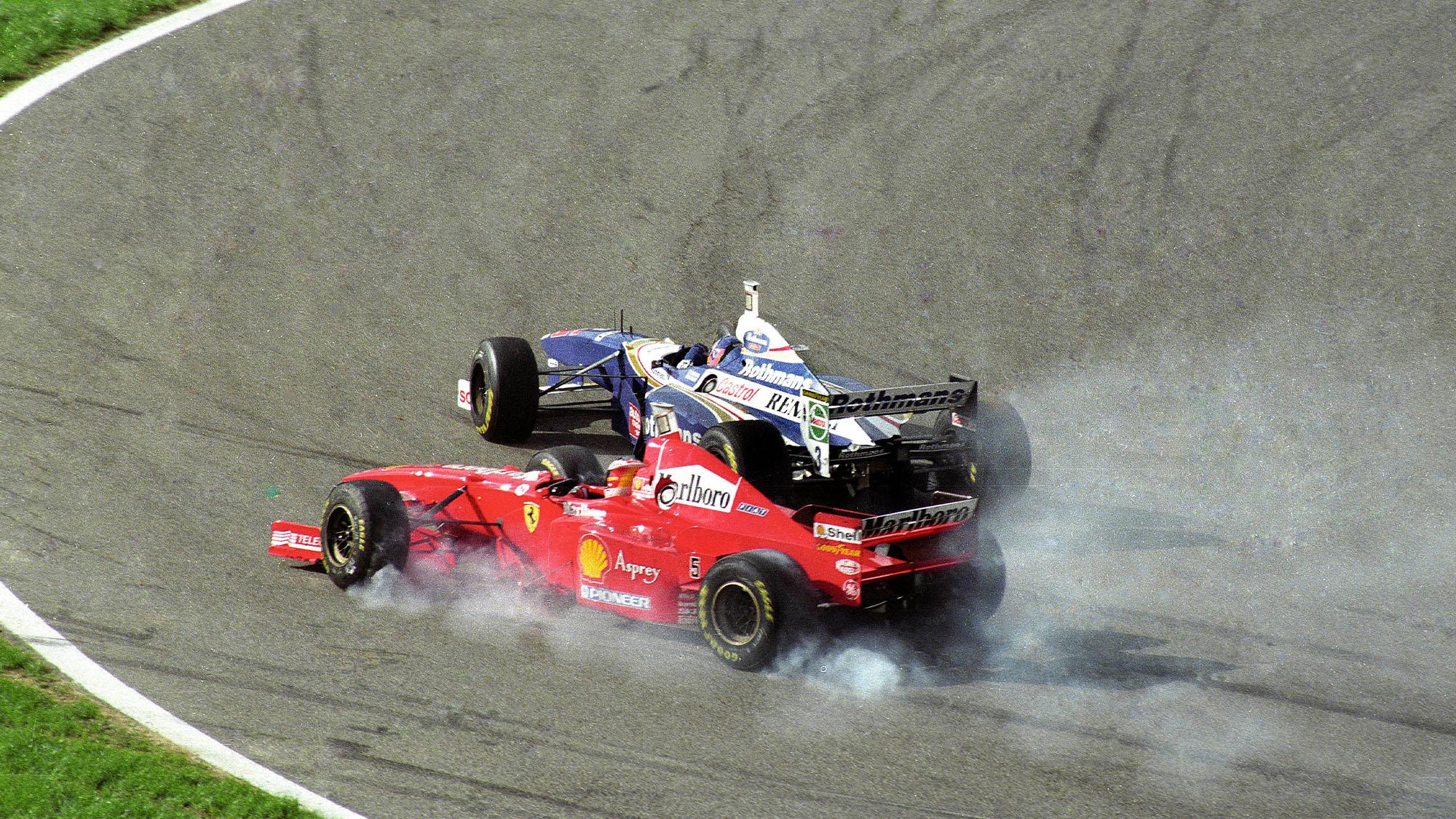 Michael Schuamcher crashes into Jacques Villeneuve at the 1997 European GP Jerez