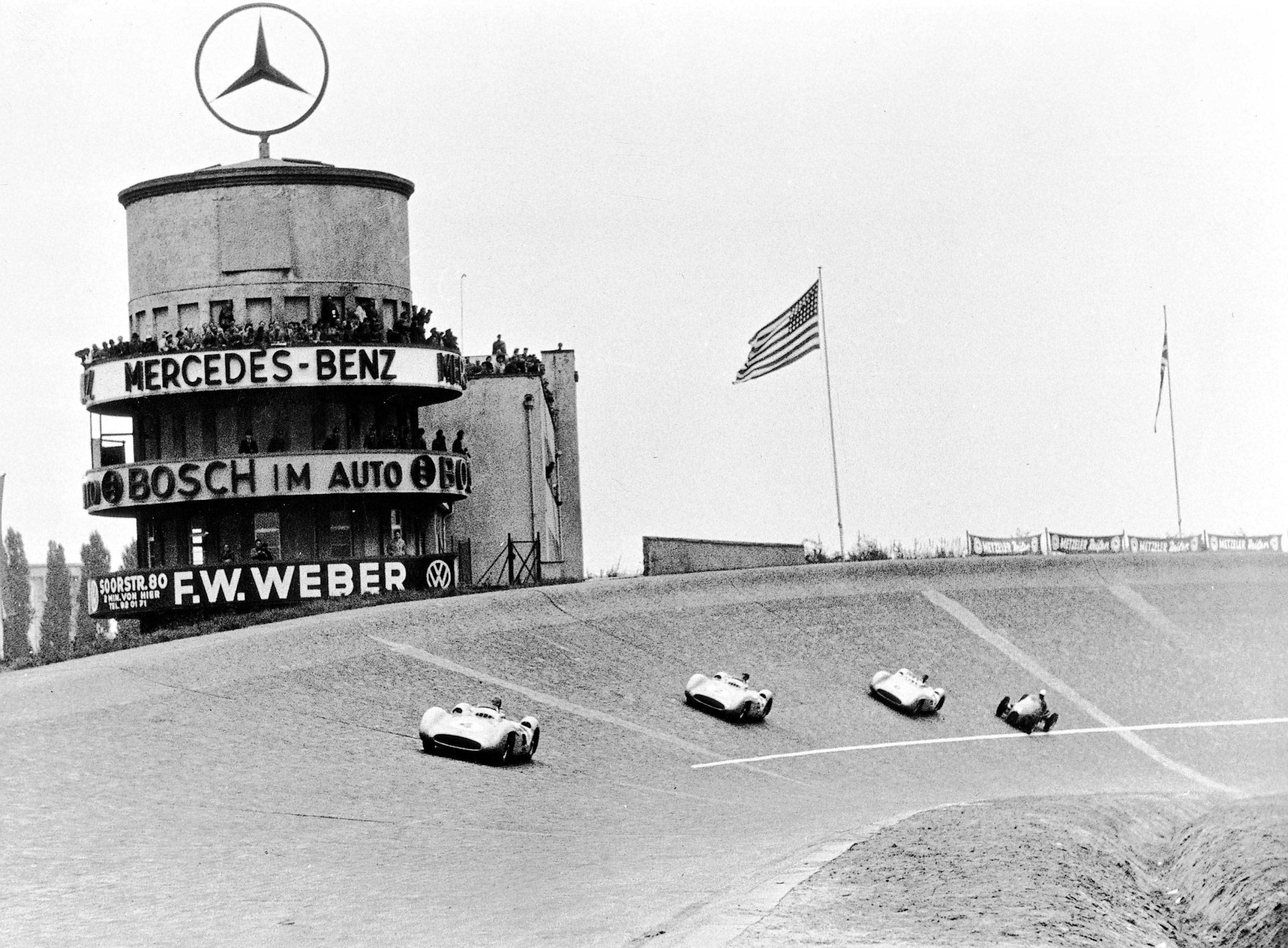Jean-Behra-follows-Kling-Fangio-and-Hermann-at-Avus-in-1954