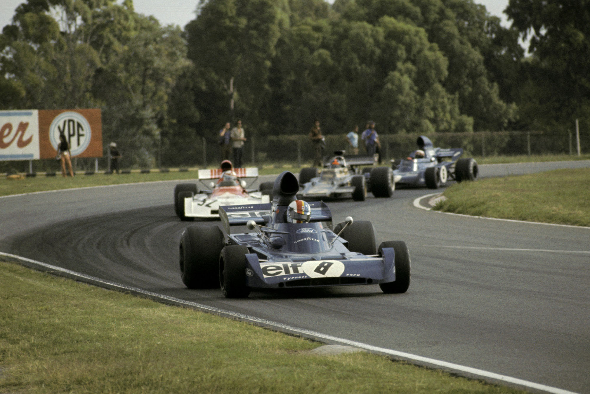 Second placed Francois Cevert (FRA) Tyrrell 006 leads the race from pole sitter Clay Regazzoni (SUI) BRM P160D, who finished seventh; his team mate Jackie Stewart (GBR) Tyrrell 005 who finished third and race winner Emerson Fittipaldi (BRA) Lotus 72D.