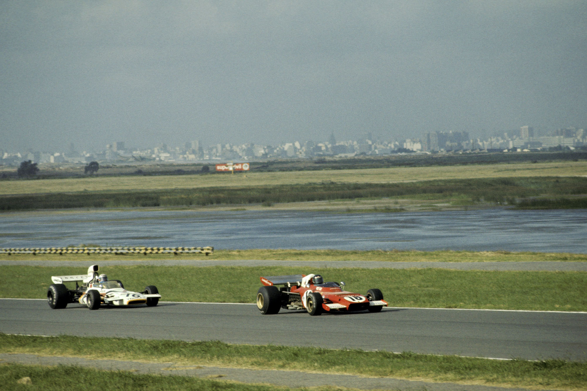 Fourth placed Jacky Ickx (BEL) Ferrari 312B2 leads Peter Revson (USA) McLaren M19C who finished eighth.