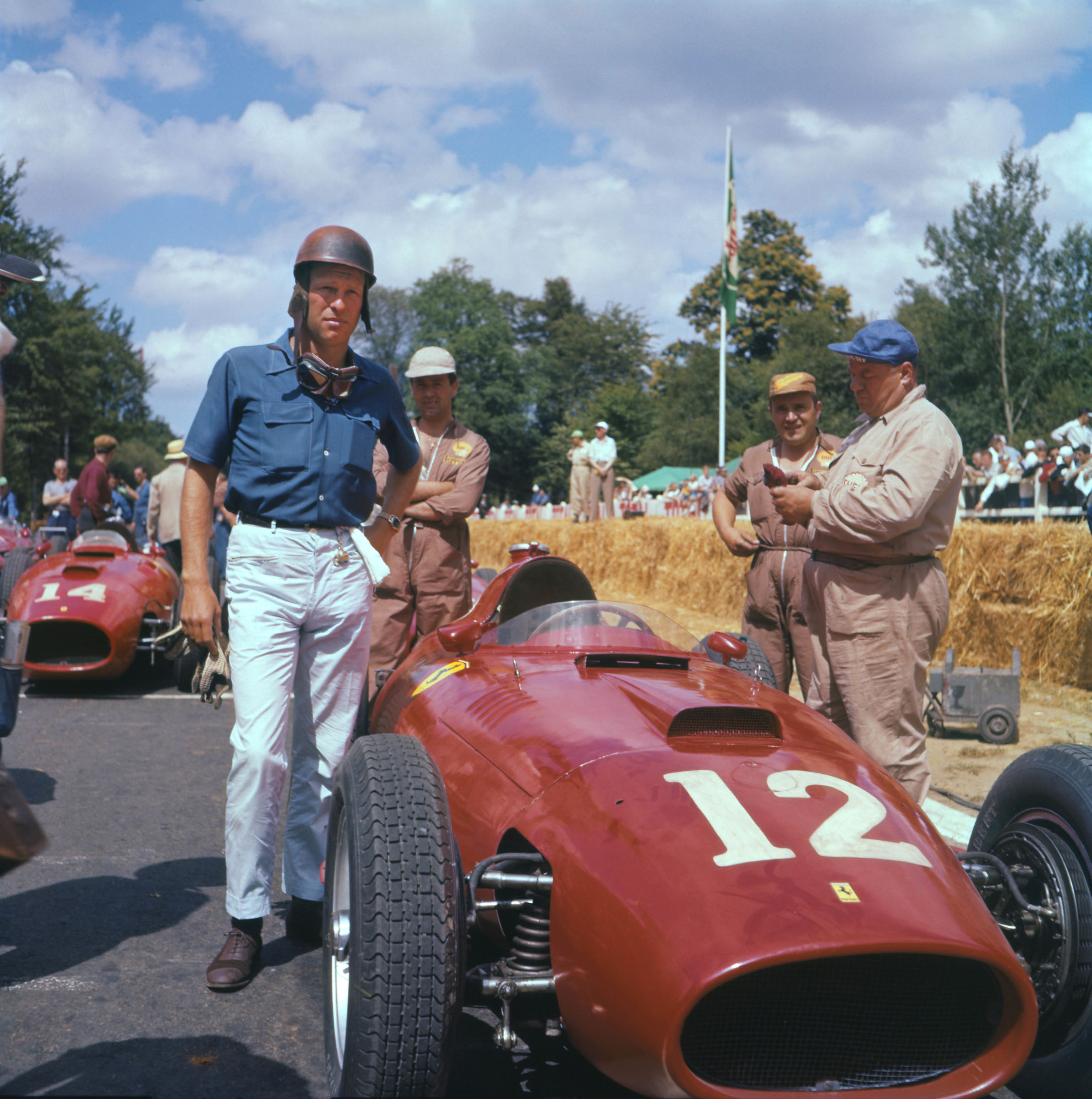 Peter Collins on the grid with his Ferrari before the 1957 French Grand Prix in Rouen.