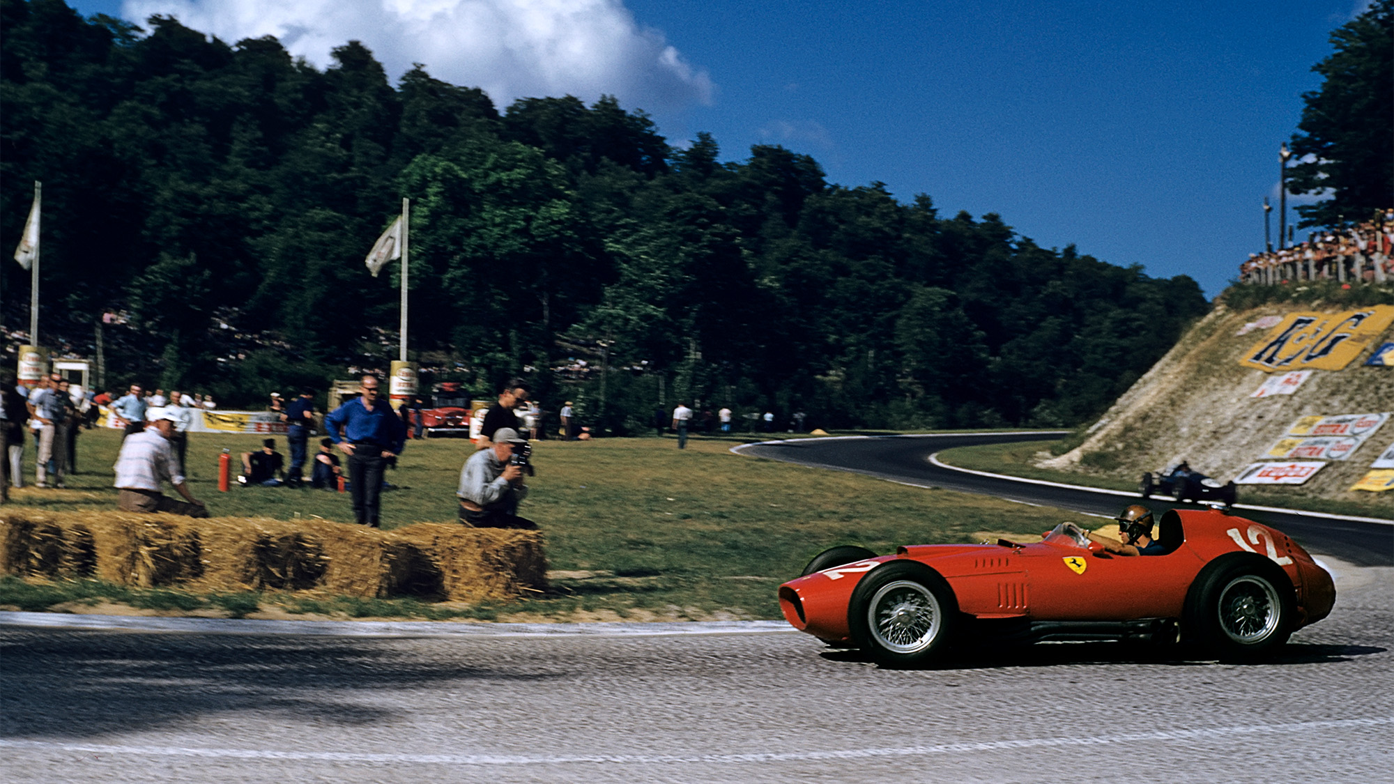 Peter Collins in the Ferrari 801 during the 1957 French Grand Prix at Rouen-Les-Essarts