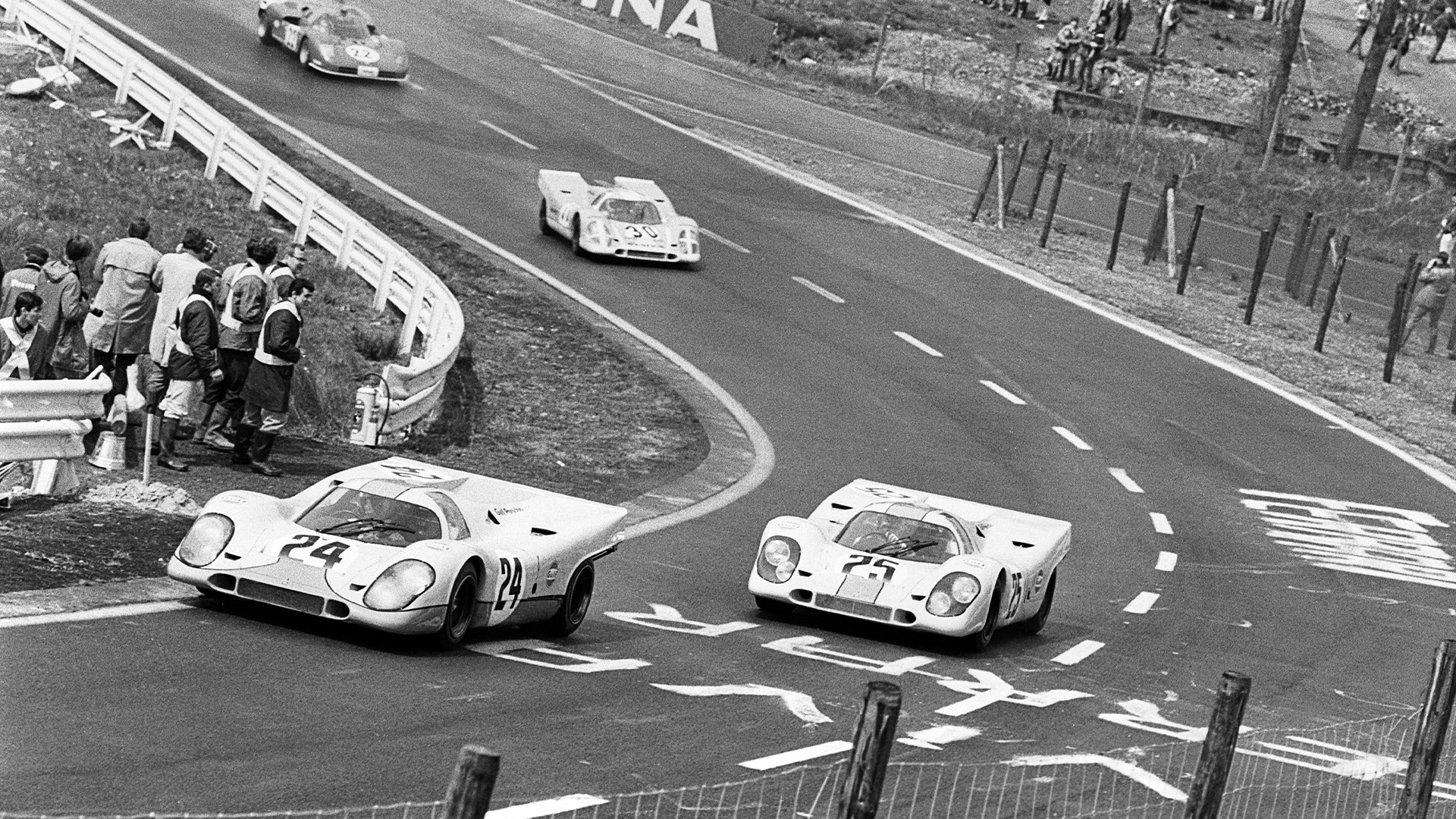 Jo Siffert leads Pedro Rodriguez at the start of the 1970 1000Kms of Spa