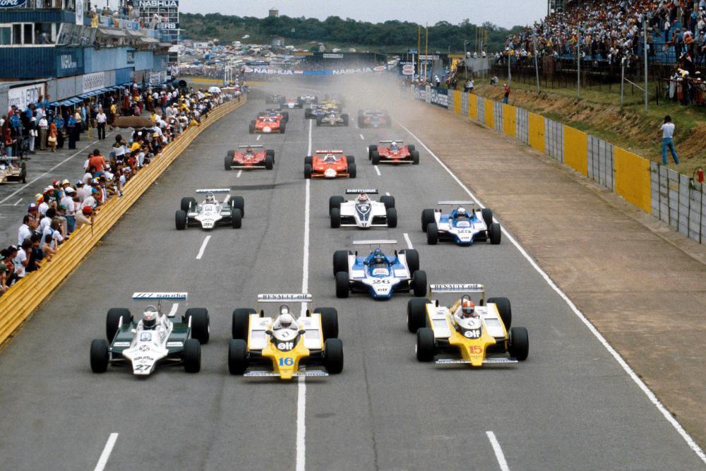 L-R at the start - Alan Jones (Williams), Rene Arnoux (Renault) and pole sitter Jean Pierre Jabouille (Renault).