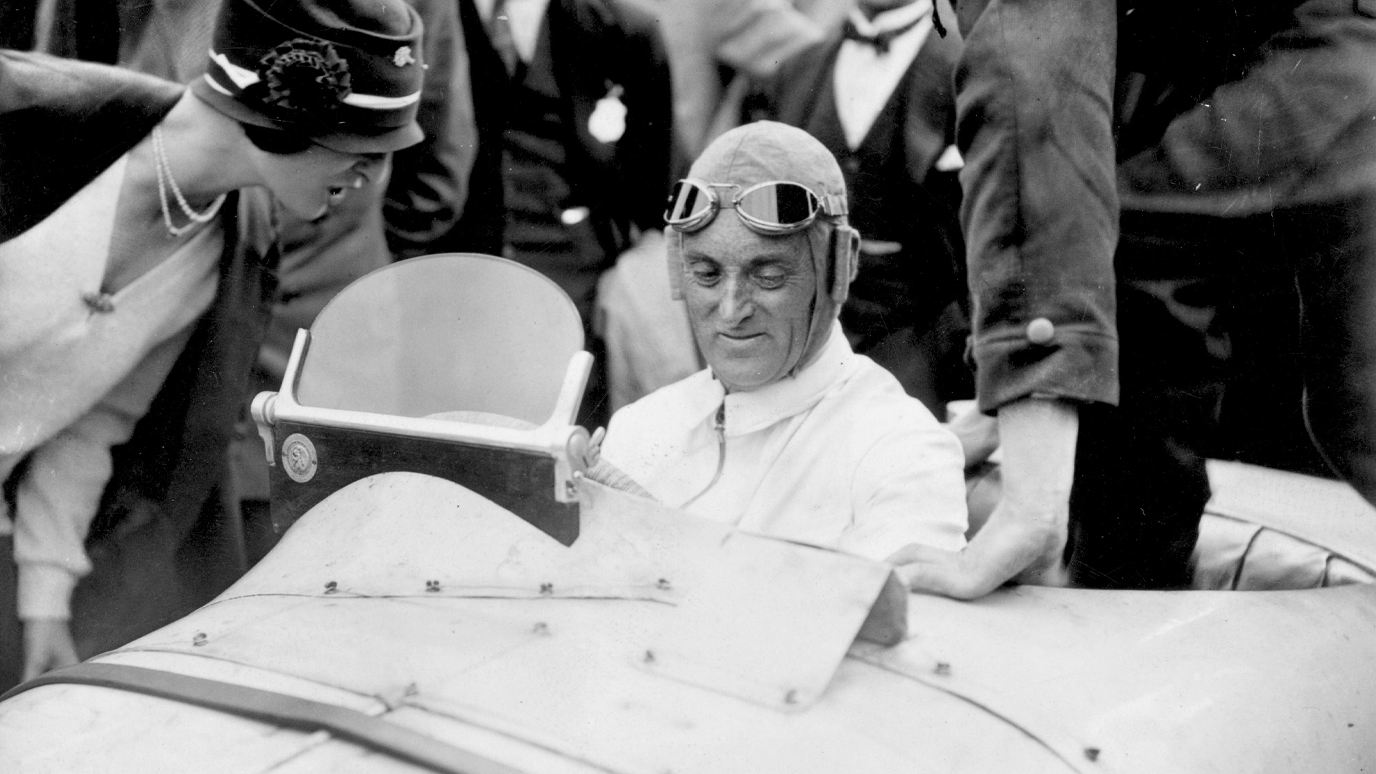 Malcolm Campbell in his Type 39A Bugatti at Brooklands for the inaugural 1926 British Grand Prix