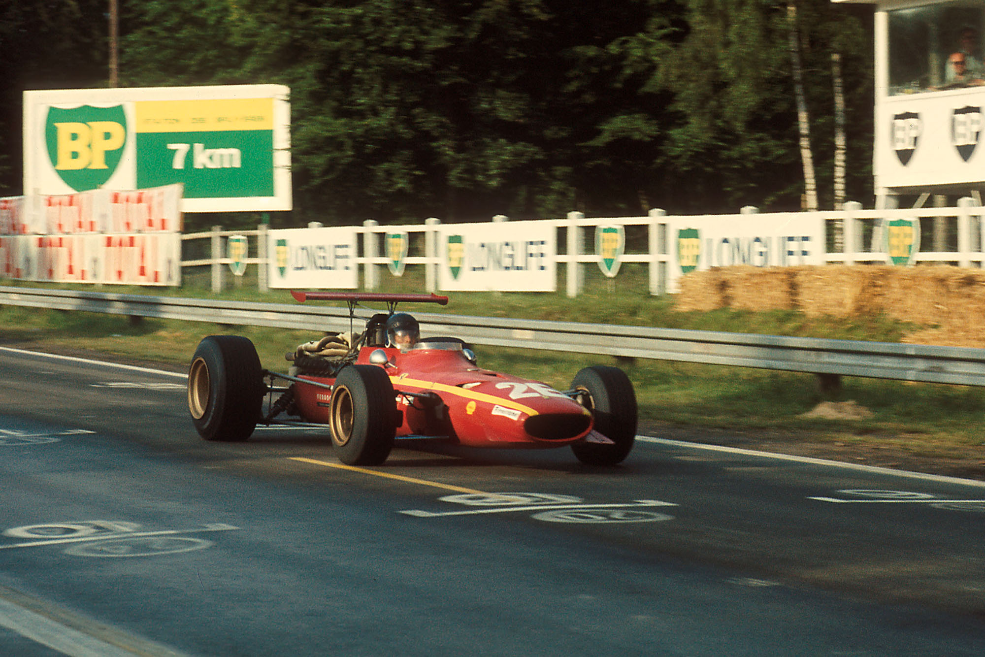 Jacky Ickx (BEL) Ferrari 312 took his first ever Grand Prix victory. French Grand Prix, Rd6, Rouen-les-Essarts, France, 7 July 1968.