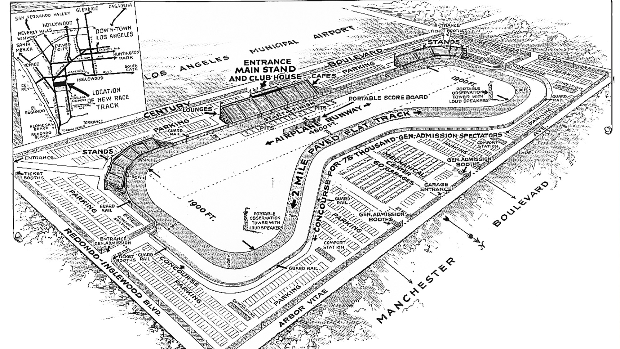 Map of Mines Field track Los Angeles