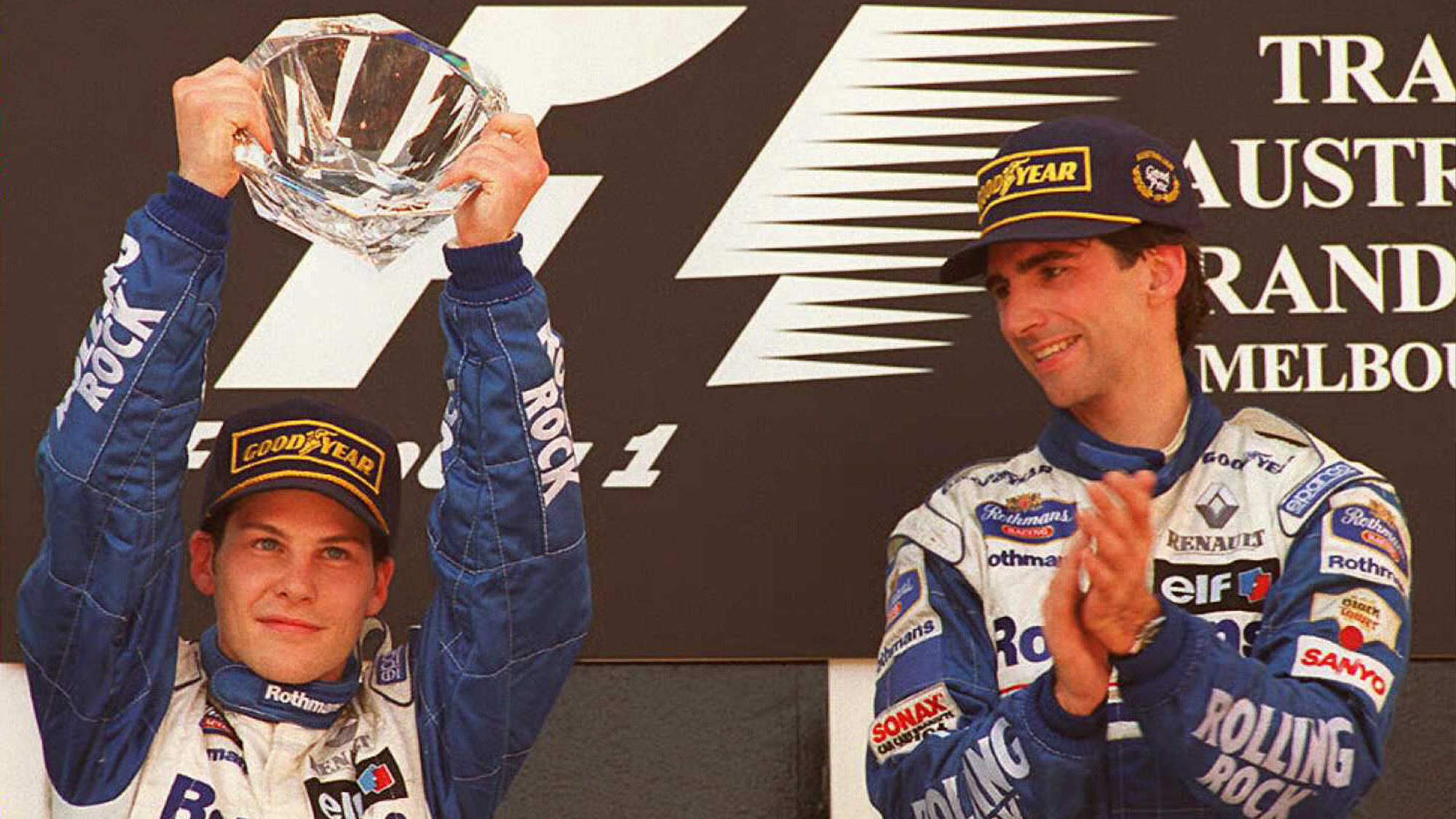 Damon Hill and Jacques Villeneuve on the podium after the 1996 Australian Grand Prix