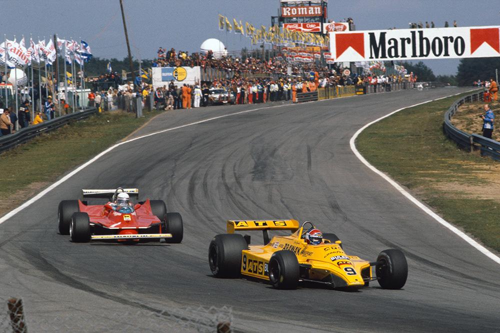 Jan Lammers (ATS D4-Ford) leads Jody Scheckter (Ferrari 312T5).