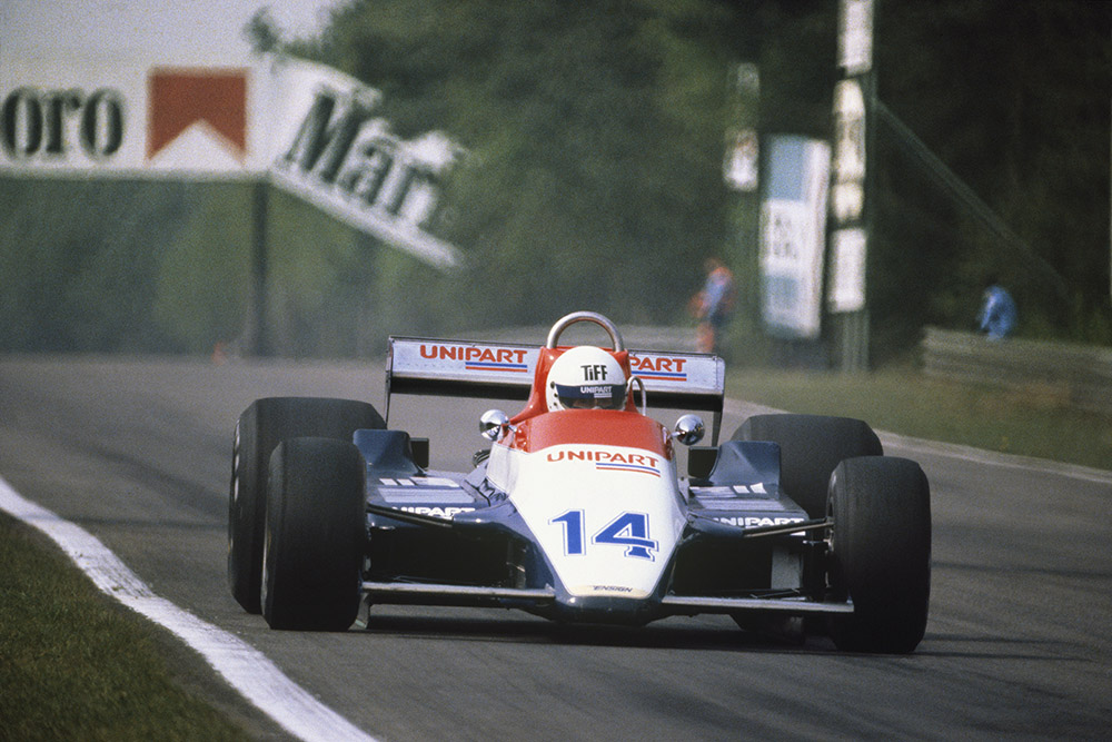 Tiff Needell in a Ensign N180-Ford.
