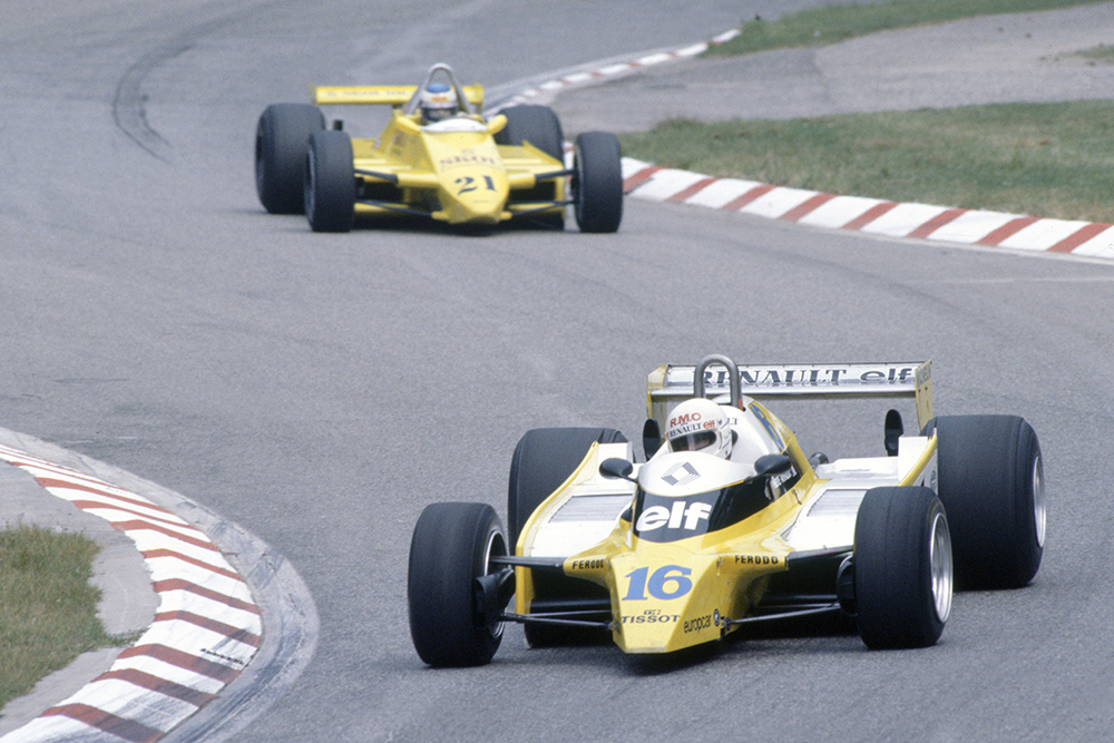 Rene Arnoux (Renault RE20) leads Keke Rosberg (Fittipaldi F8-Ford Cosworth).
