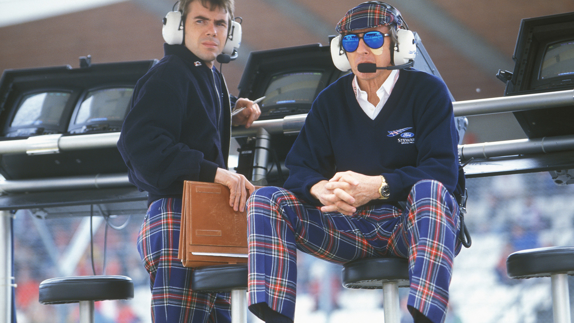 Jackie and Paul Stewart on the pitwall for Stewart Grand Prix at the 1997 San Marino GP