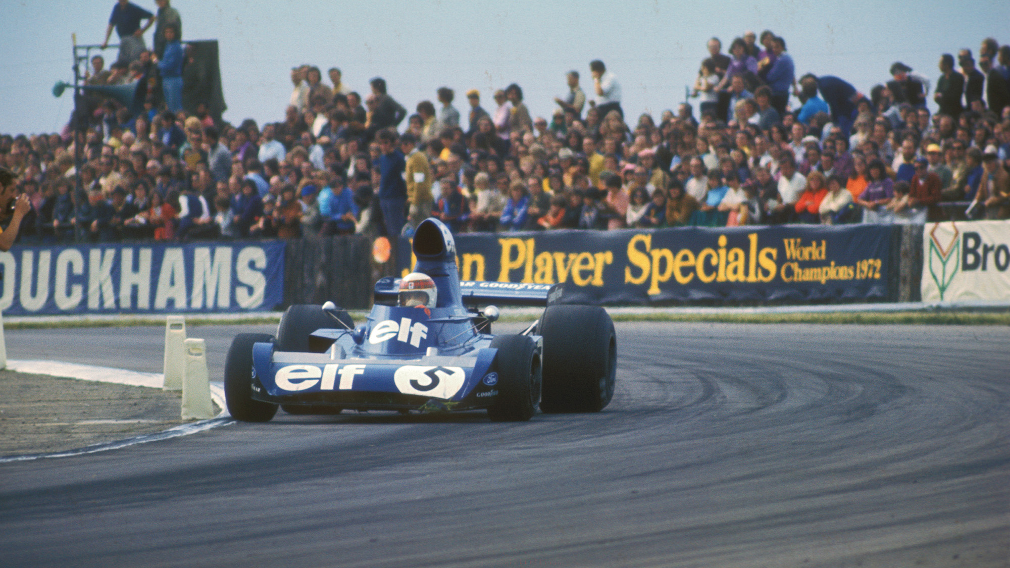 Jackie Stewart in his Tyrrell Ford during the 1973 British Grand Prix at Silverstone