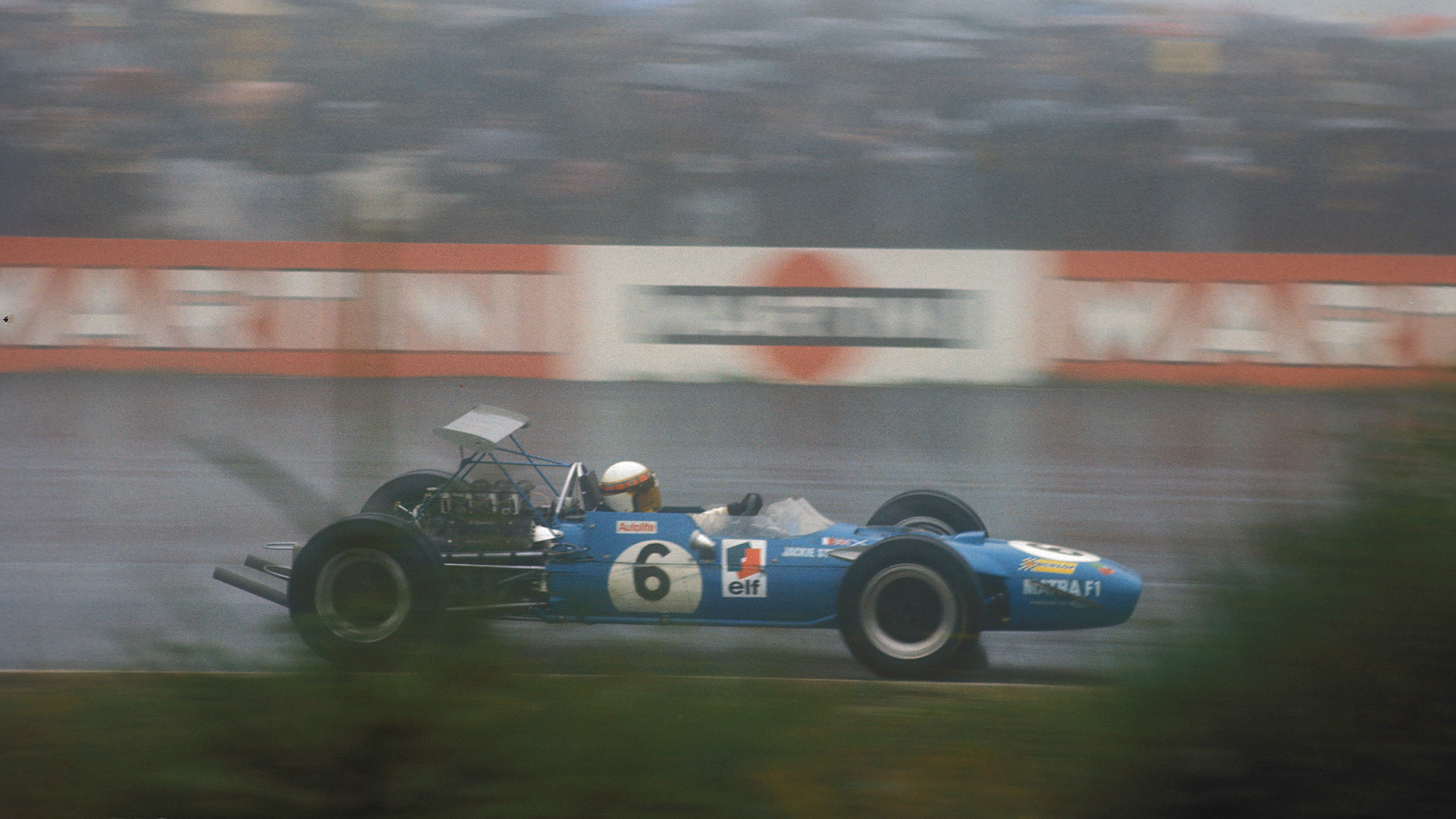 Jackie Stewart in the rain at the Nurburgring during the 1968 German Grand Prix