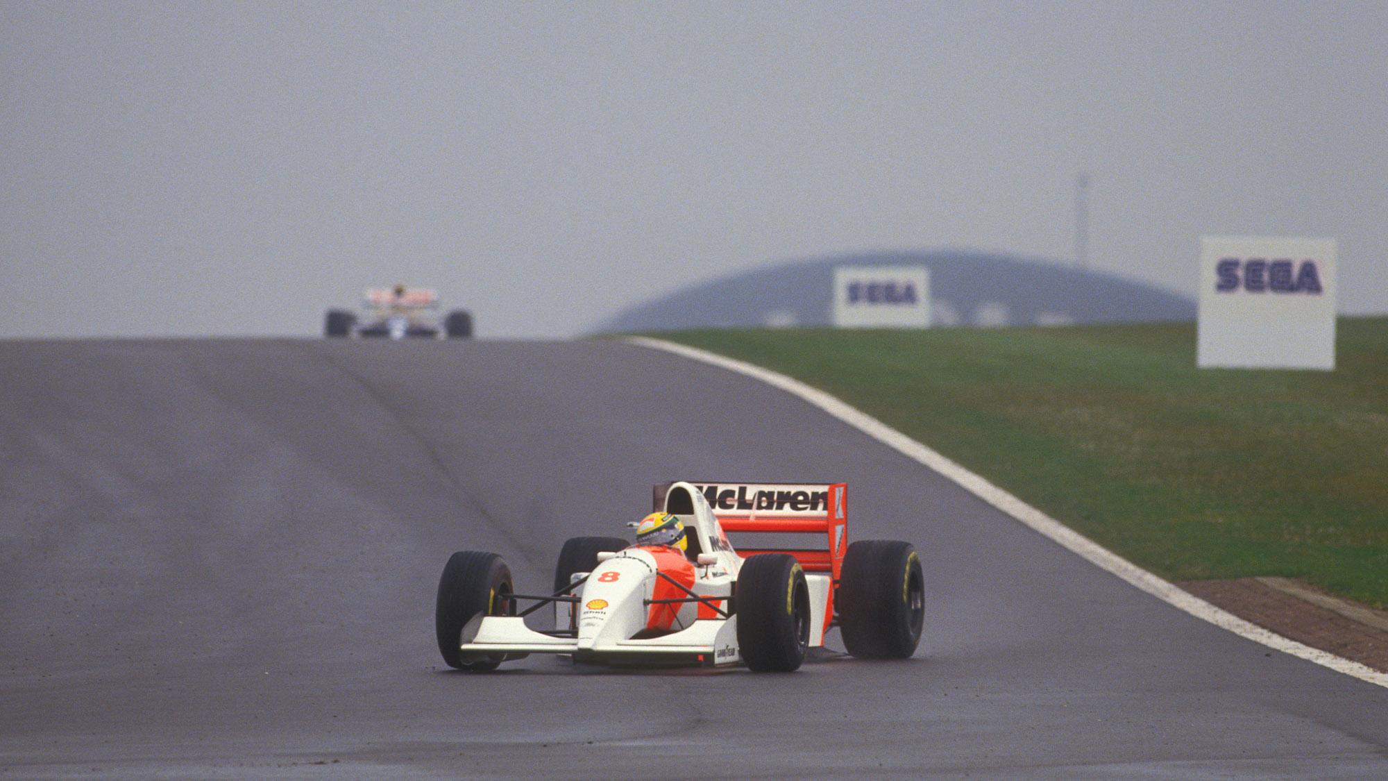 Ayrton Senna leads Alain Prost in the 1993 European Grand Prix at Donington