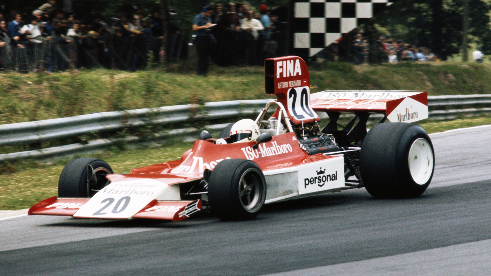 Arturo Merzario drives the #20 Frank Williams Racing Cars Marlboro Iso Ford FW during the British Grand Prix on 20 July 1974 at the Brands Hatch circuit in Fawkham, Great Britain. (Photo by Getty Images)