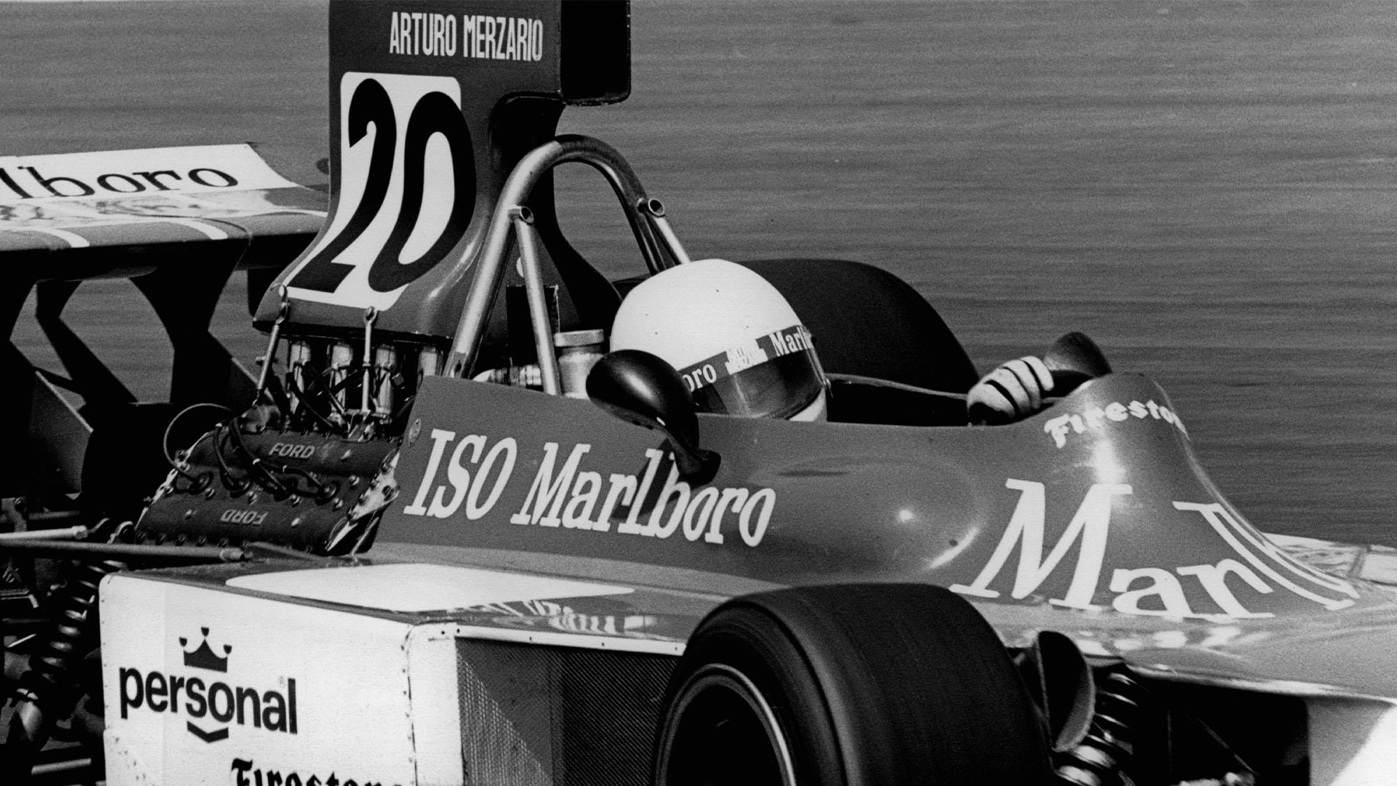 Arturo Merzario, Iso-Marlboro-Ford FW, Grand Prix of the Netherlands, Circuit Park Zandvoort, 23 June 1974. (Photo by Bernard Cahier/Getty Images)