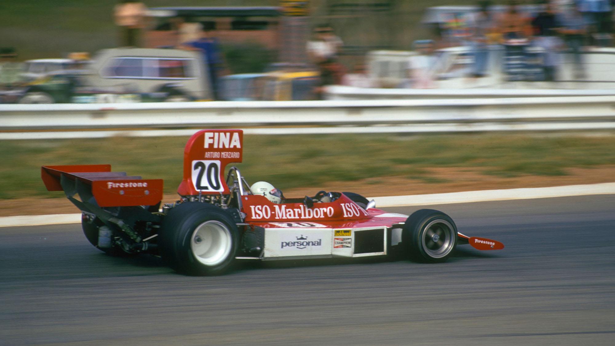 Arturo Merzario (Williams Iso-Ford) in the 1974 South African Grand Prix in Kyalami. Photo: Grand Prix Photo