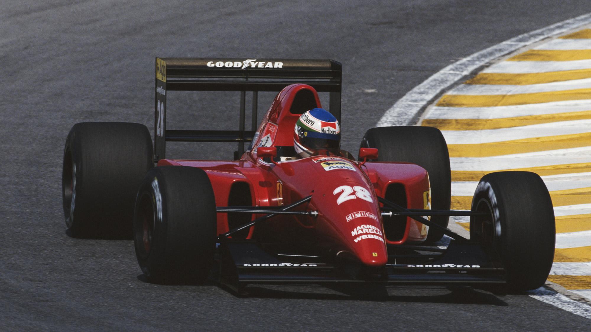Ivan Capelli drives the 1992 Ferrari F92A in the 1992 F1 Brazilian Grand Prix