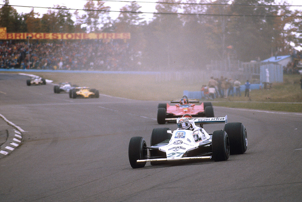 Alan Jones heading to a win in his Williams FW07B Ford.
