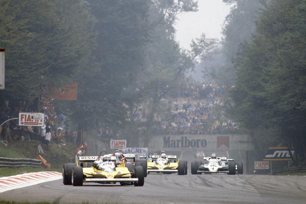 Alain Prost (Renault RE30) leads Didier Pironi (Ferrari 126CK), Rene Arnoux (Renault RE30) and Alan Jones (Williams FW07C-Ford Cosworth).