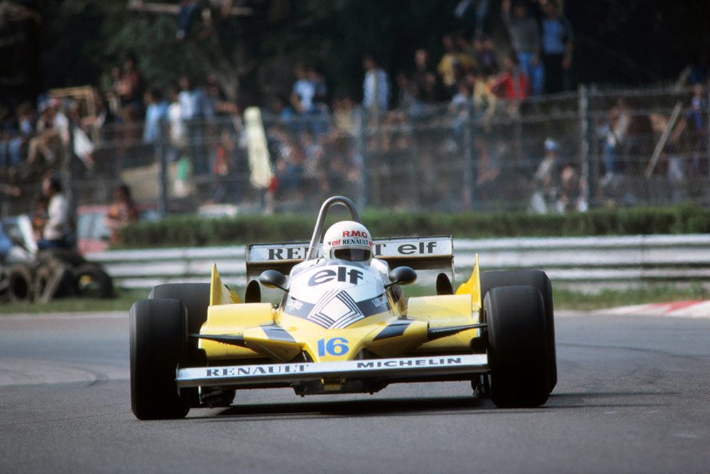 Rene Arnoux in his Renault RE30, retired after taking avoiding action when Eddie Cheever spun on a wet section of track.