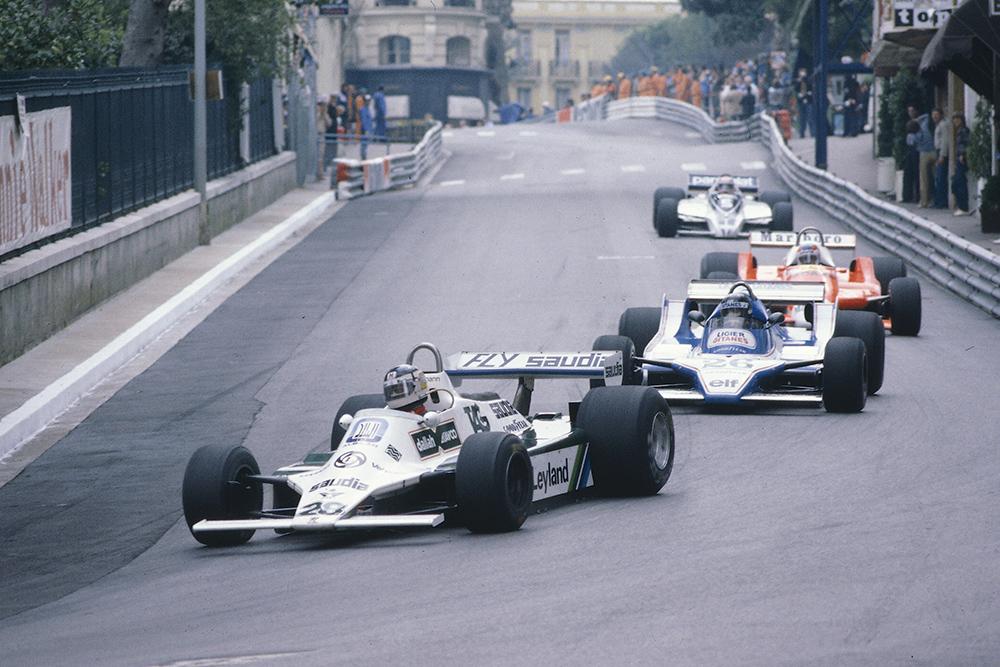 Carlos Reutemann (Williams FW07B Ford) leads Jacques Lafitte (Ligier JS11/15 Ford), Patrick Depailler (Alfa Romeo 179) and Nelson Piquet (Brabham BT49 Ford) into Mirabeau.