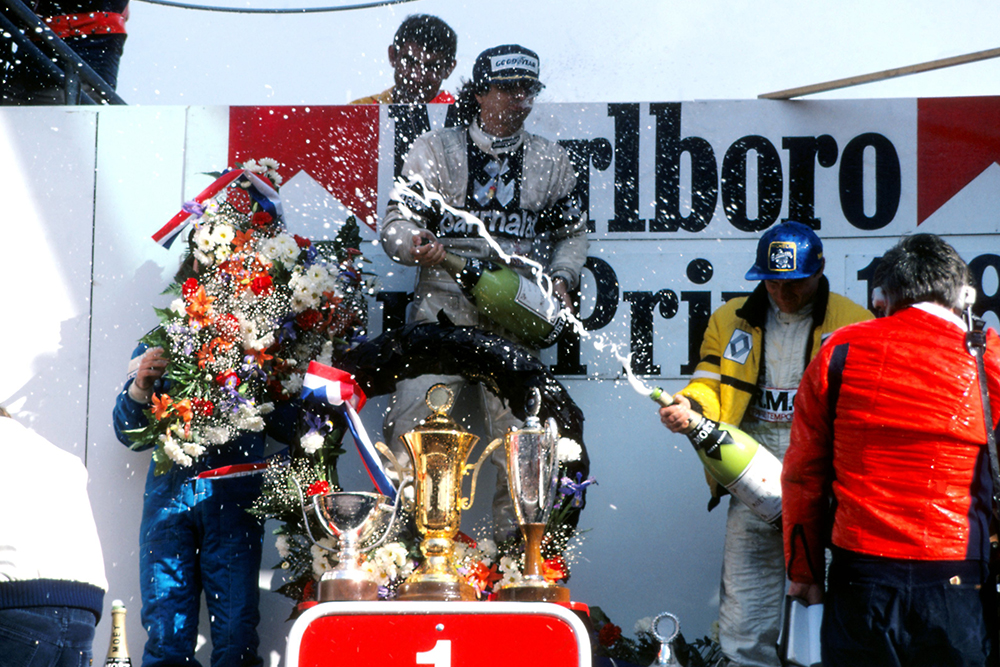 Winners on the podium - 1st Nelson Piquet (centre), 2nd Rene Arnoux (right) and 3rd Jacques Laffite (left).