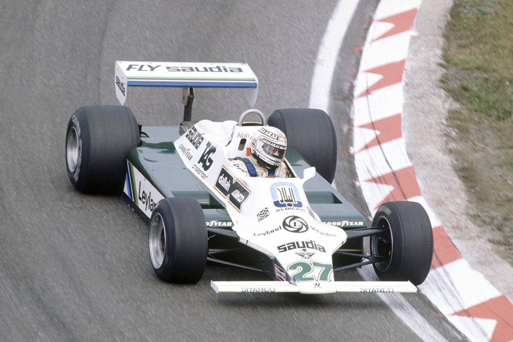 Alan Jones in his Williams FW07B-Ford Cosworth.