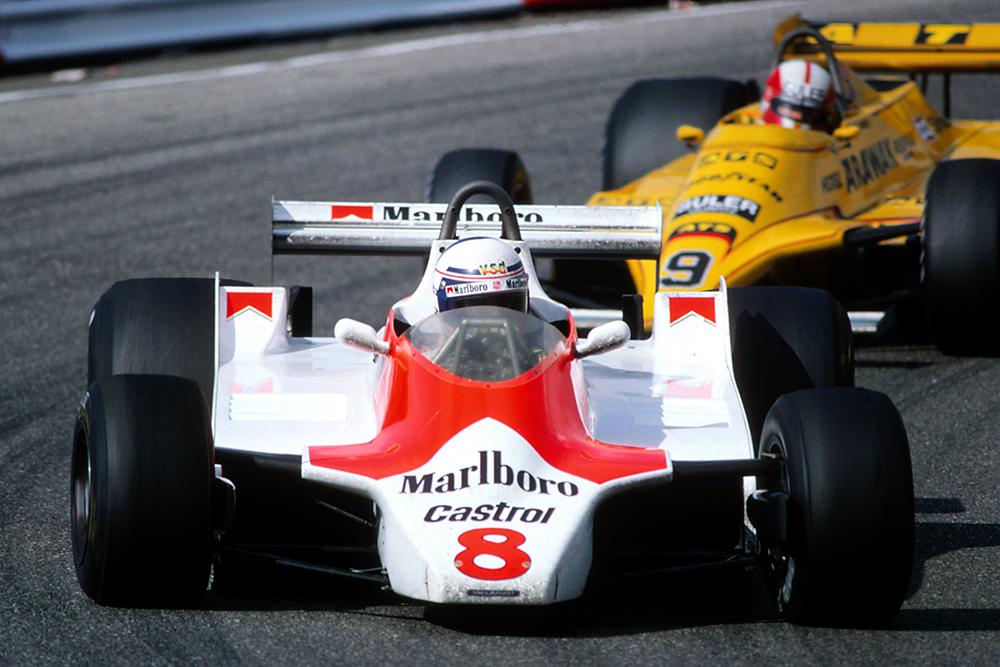 Alain Prost in his McLaren M30.