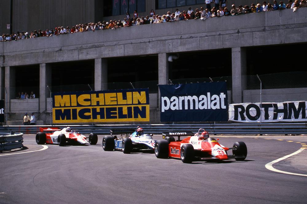 Bruno Giacomelli (Alfa Romeo 182) leads Eddie Cheever (Ligier JS17) and Niki Lauda (McLaren MP4B).