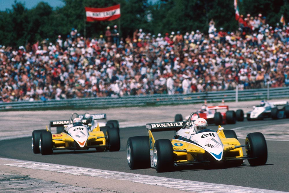 Rene Arnoux(Renault RE30B) leads team mate Alain Prost on the opening lap.