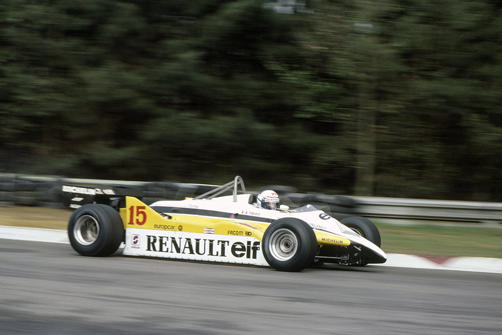 Alain Prost in his Renault RE30B).