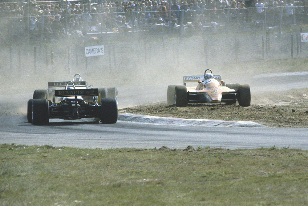 Mauro Baldi (Arrows A4-Ford Cosworth) spins out of the race.