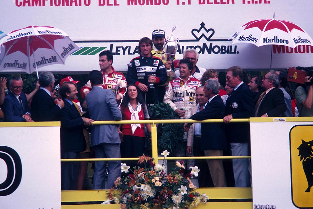 Winner Rene Arnoux with 2nd placed Patrick Tambay and 3rd Mario Andretti.