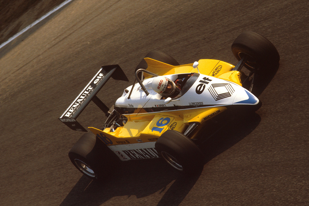 Rene Arnoux in his Renault RE30B.