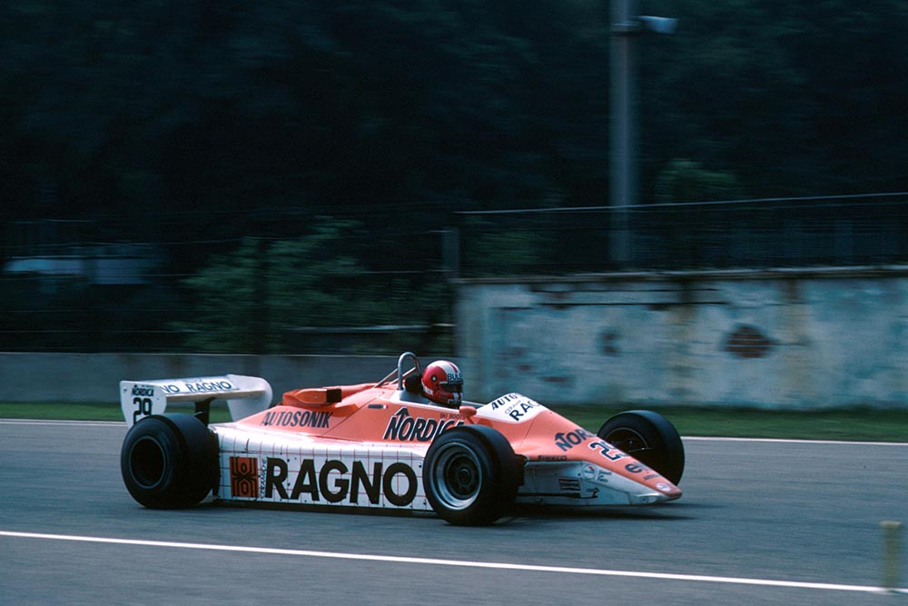 Marc Surer who retired when his Arrows A4 suffered ignition failure