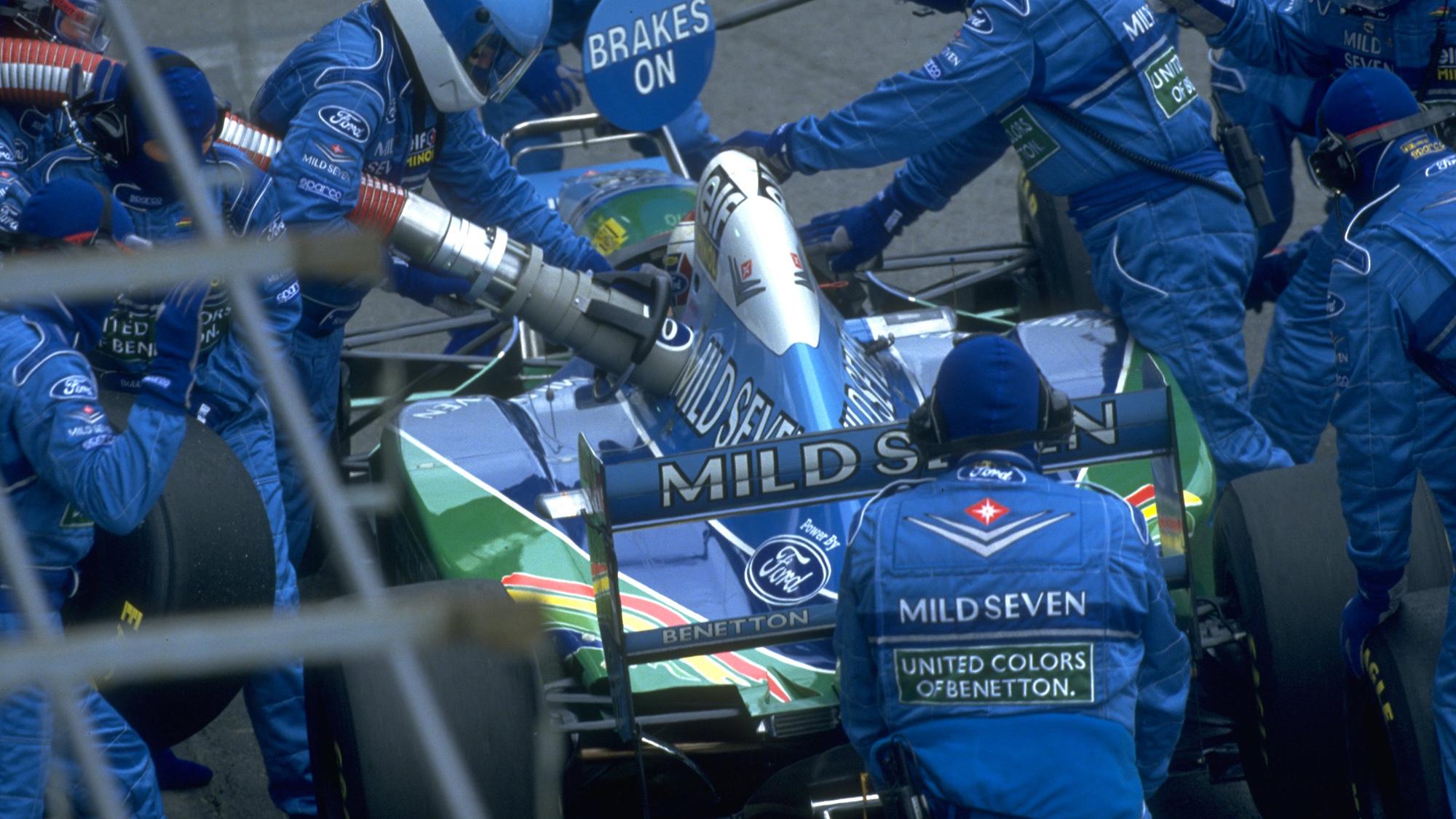 Benetton pitstop for Jos Verstappen in 1994