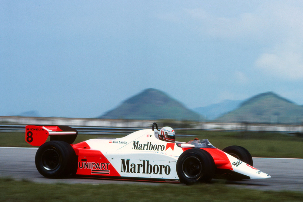 Niki Lauda in his McLaren MP4B.