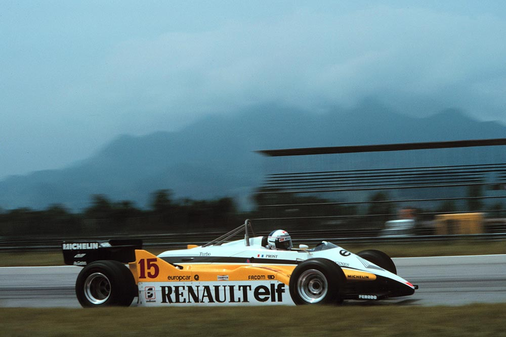 Alain Prost in a Renault RE30B inherited victory when both Nelson Piquet and Keke Rosberg were controversially disqualified for being underweight at the finish.