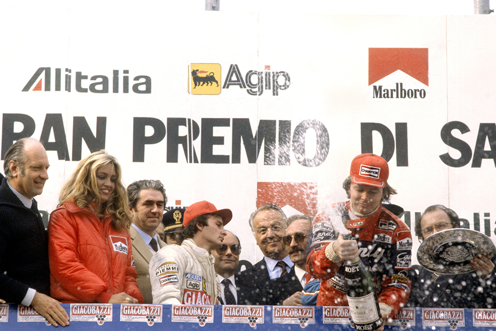 Race winner Didier Pironi and 2nd placed Gilles Villeneuve on the podium.