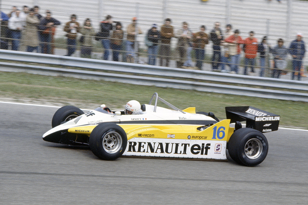Rene Arnoux in his Renault RE30B, he retired later.